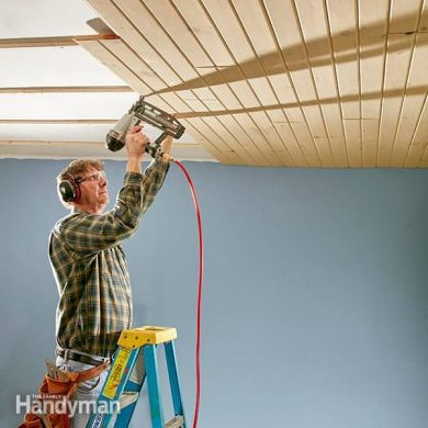 How to Install a Tongue and Groove Ceiling   The Family Handyman install a tongue and groove ceiling shiplap ceiling