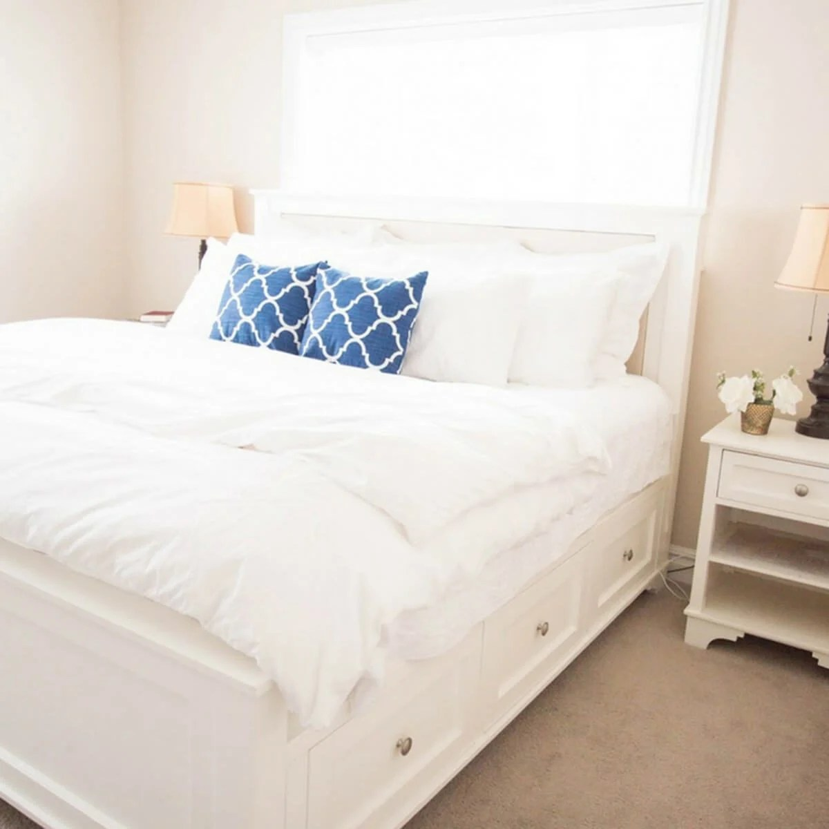 11 Great DIY Bed Frame Plans and Ideas     The Family Handyman Pottery Barn Style DIY Bed Frame with Storage