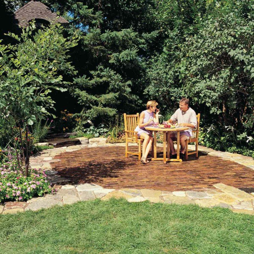 brick and stone patio