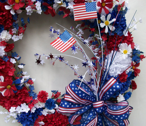 Wreath USA 4th Of July Day And Other Patriotic Door