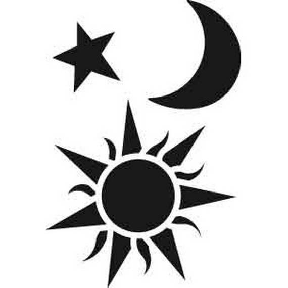 Wall Decal Sun Moon Sunshine Stars Crescent Dual Ethnic Night Symbol Vinyl Sticker Dec