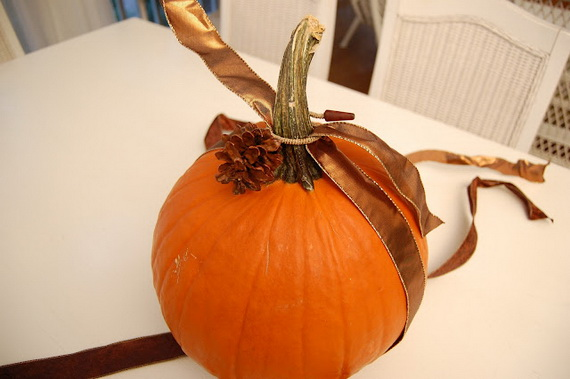Decorated Pumpkins With Ribbon And Raffia Rather Than Carve A Decorate Them Instead