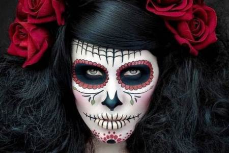 2half faced source interior easy skeleton face paint electronic wallpaper best half face halloween makeup ideas tutorial candy skull halloween