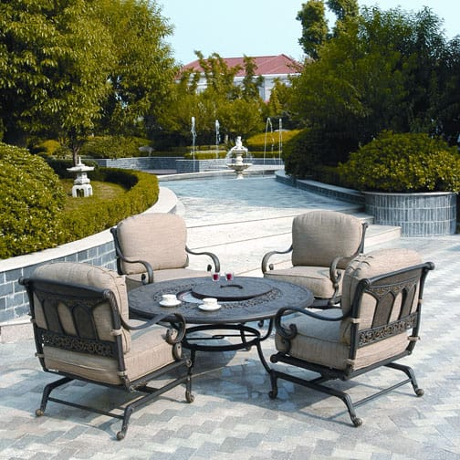 outdoor patio furniture with fire pit St. Moritz - Fire Pit Set by Hanamint