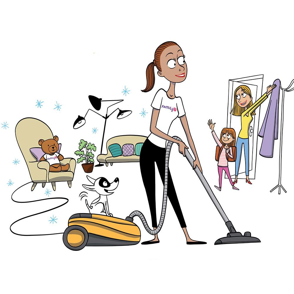Illustration d'une fée du logis Family+ en action