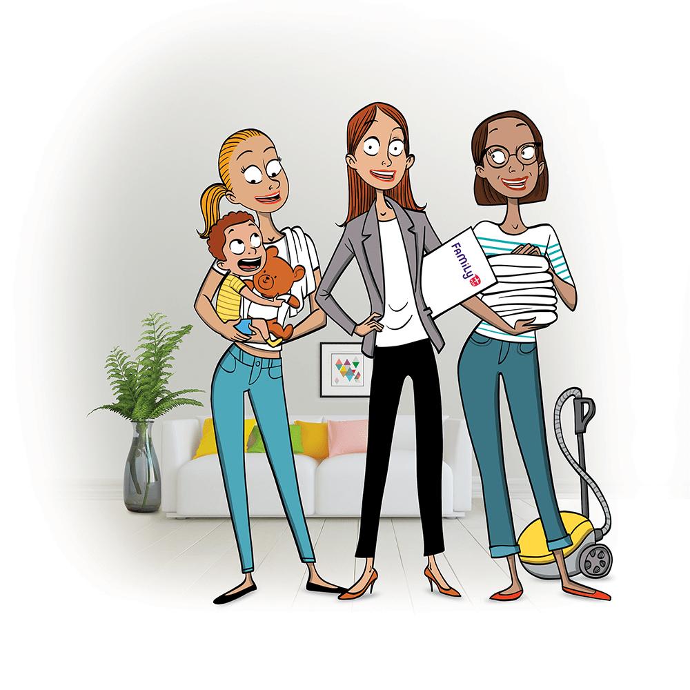Illustration d'une intervenante Family+ avec des clientes
