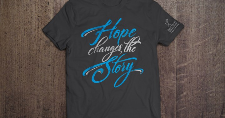 Gray t-shirt with phrase Hope Changes the Story