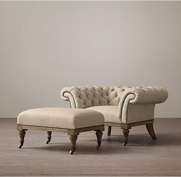 Upholstered Chesterfield Small Ottomans And Footstools