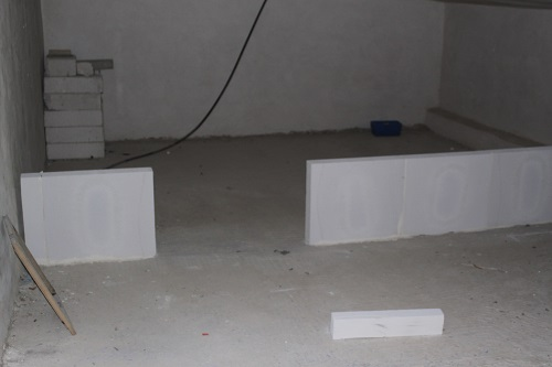The attic area - building the wall of the storage room