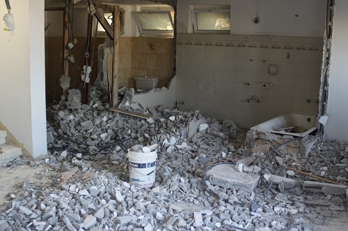 The tv room during the demolition