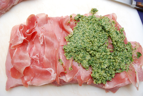 Stuffed Pork Loin with Proscuitto and Basil Pesto by FamilySpice.com