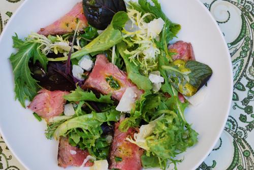 Steak Salad with Parmesan and Dijon Vinaigrette by FamilySpice.com