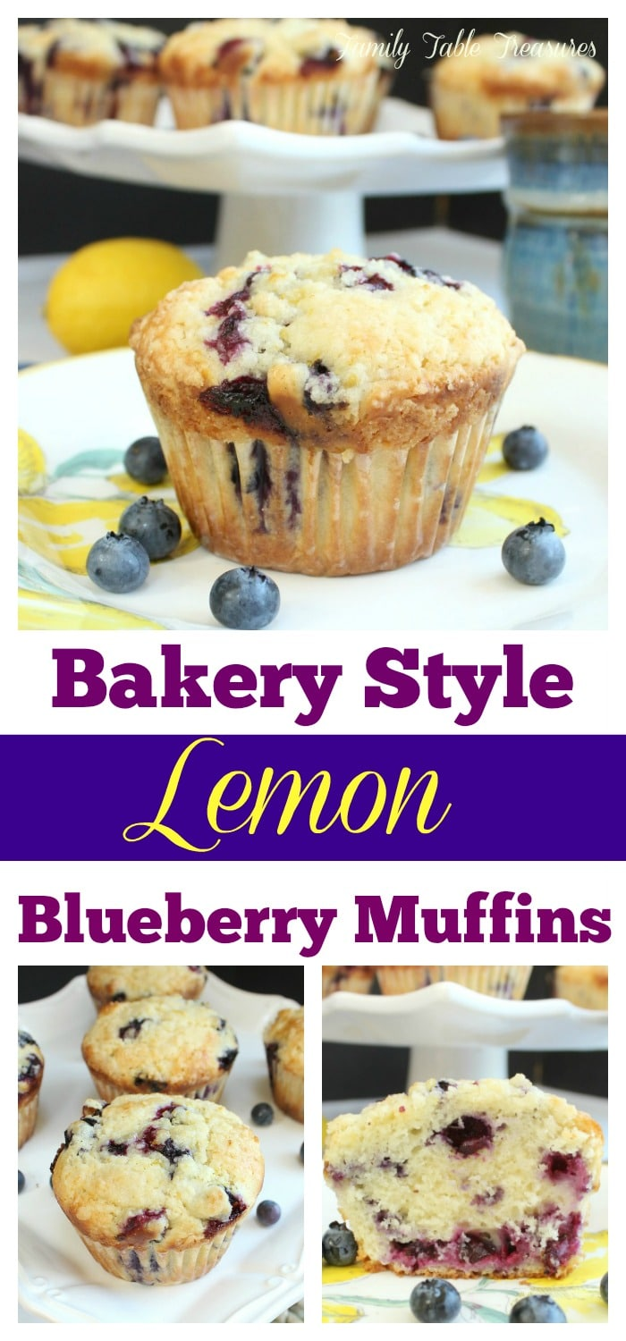 long image with text of recipe title Bakery Style Lemon Blueberry Muffins perfect for pinning on pinterest