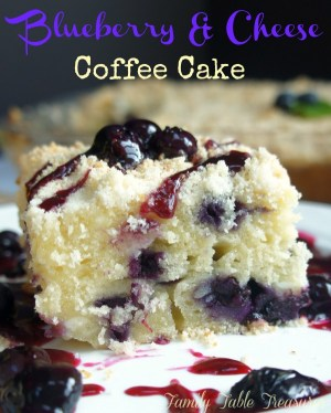 Close up of coffee cake with blueberry sauce topping