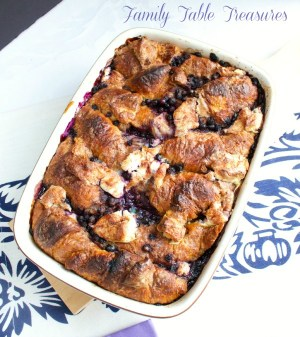 Blueberry & Cheese Croissant Casserole