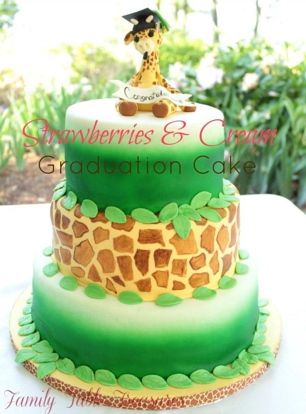 Strawberries & Cream Graduation Cake