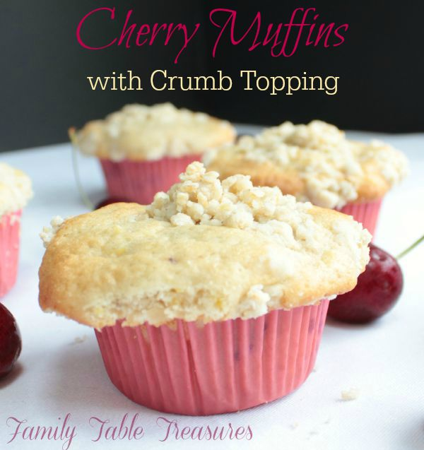 Cherry Muffins {with Crumb Topping}