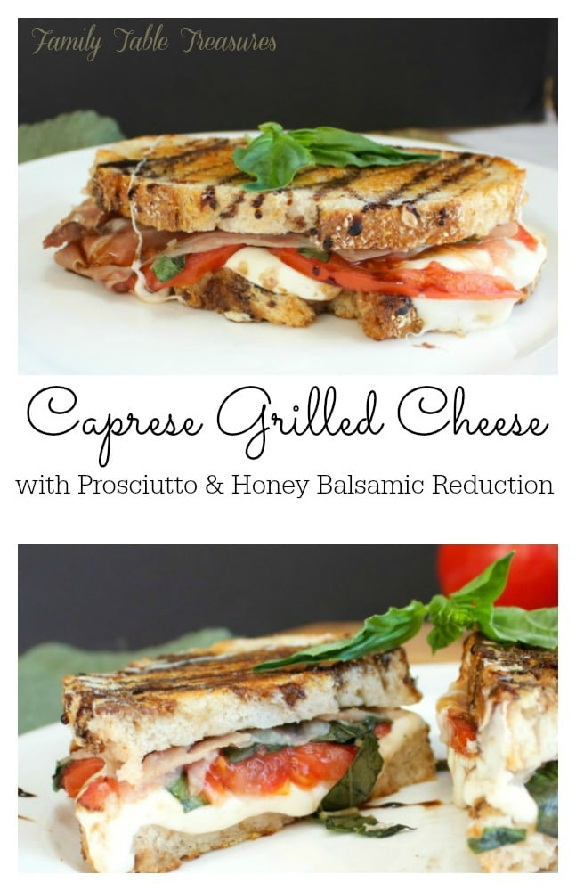 Caprese Grilled Cheese {with Prosciutto & Honey Balsamic Reduction}