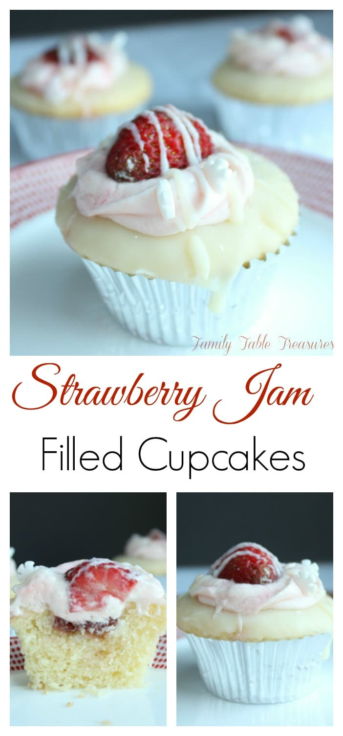 Strawberry Jam Filled Cupcakes