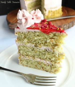 Pistachio Cake with Raspberry Swiss Meringue Buttercream