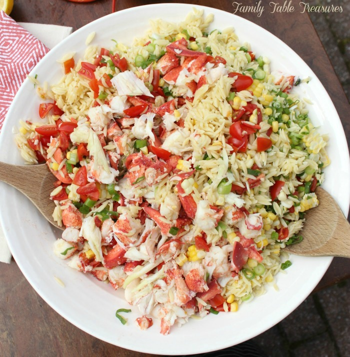 Over head view of orzo pasta salad without dressing added