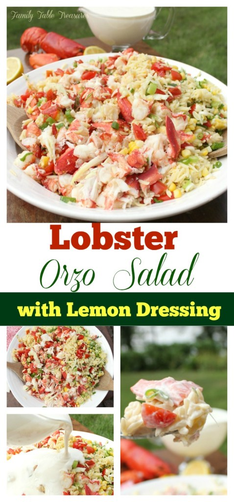 Large graphic image of Lobster Orzo Pasta Salad perfect for pinning on pinterest.