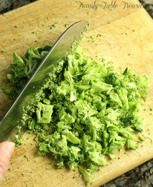 Broccoli Chopped on a cutting board