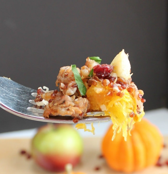 Close up of Acorn Squash Stuffing on a fork