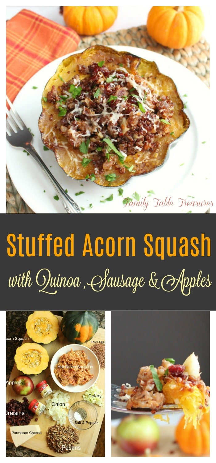 Long image with graphics perfect for Pinning on a pinterest board. Top image is of cooked Stuffed Acorn Squash Recipe. Below is is the title of the recipe and below the title is an image of all of the ingredients on a cutting board and another image of a fork with acorn squash and stuffing on it.