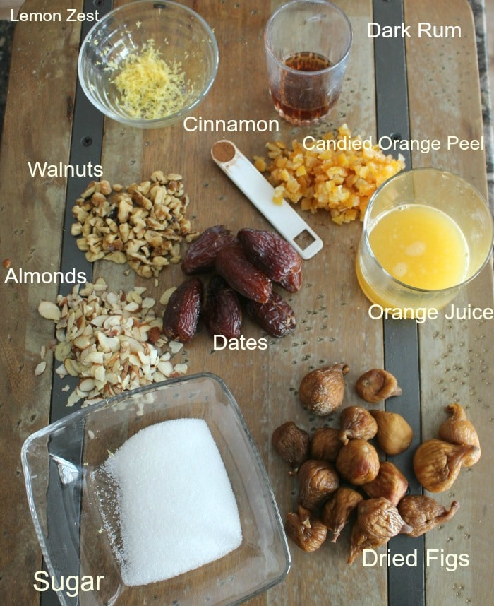 Filling Ingredients measured out in separate containers and labeled on a board.