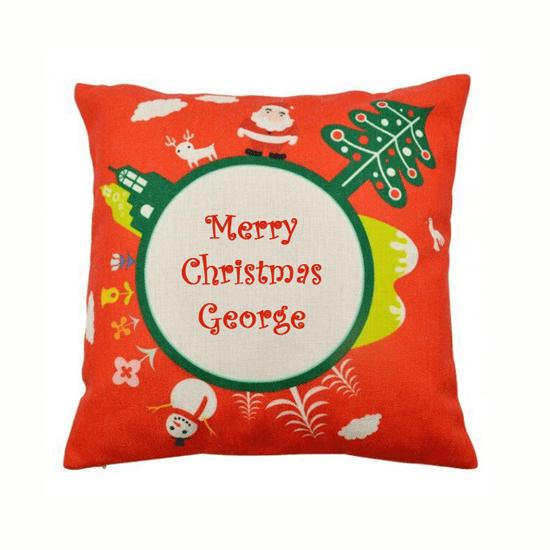 Christmas Cushion Cover Red Custom Printed