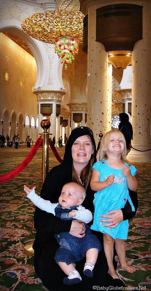 Inaisde the Grand Mosque with kids