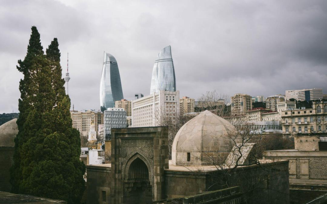View from the Old City towards the Flame Towers