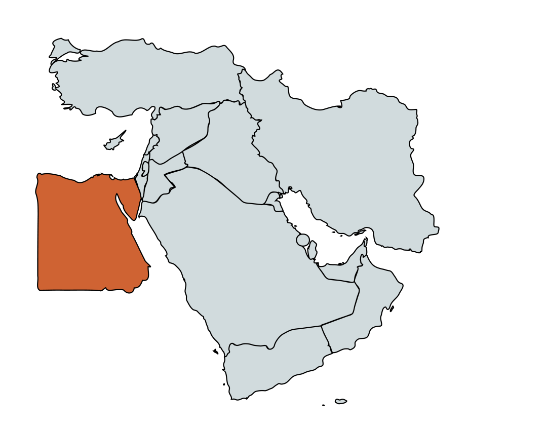Map of Egypt in relation to the Middle East