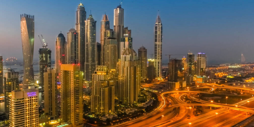 Busy road ways in Dubai