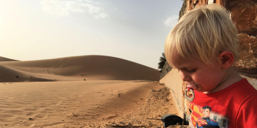 Small child in UAE desert