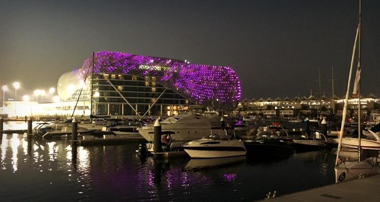 Yas Hotel lit up at night