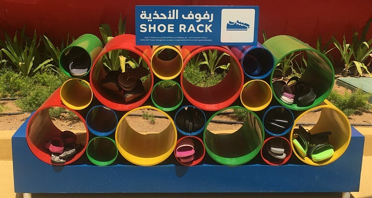 show storage rack at Legoland Water Park