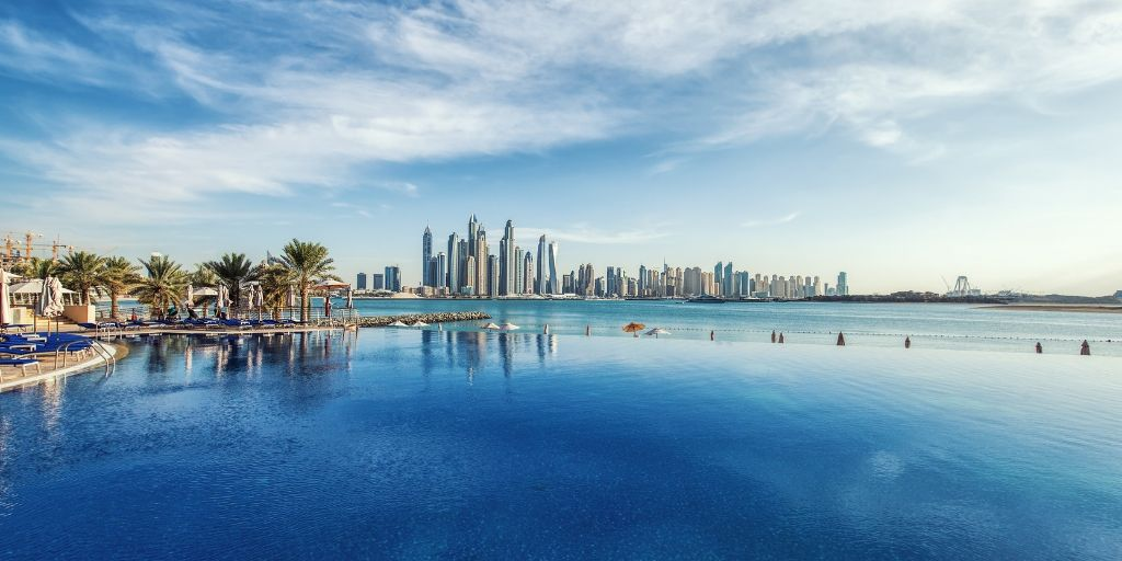 Infinity pool in Dubai overlooking JBR from the Palm