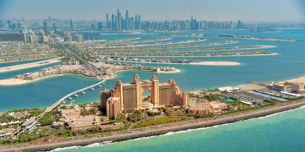 Aeriel view over Dubai the Palm and Atlantis
