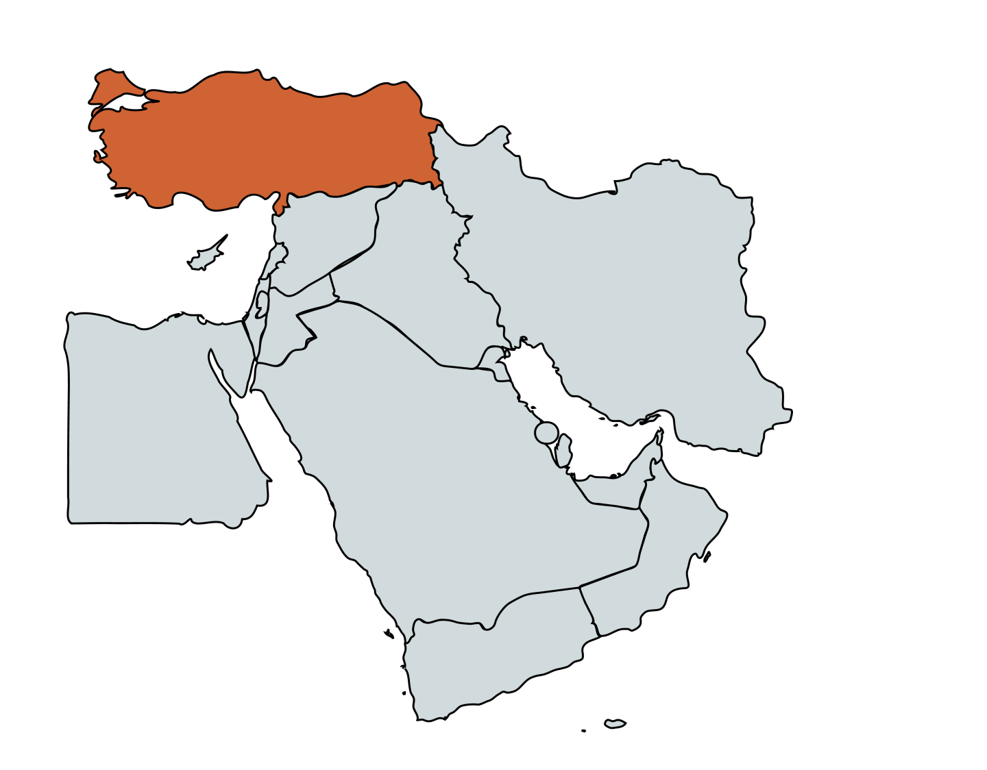 Map of the Middle East with Turkey highlighted