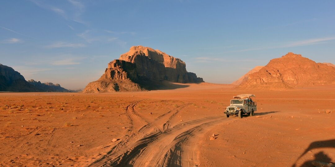 Car in Wadi Rum desert