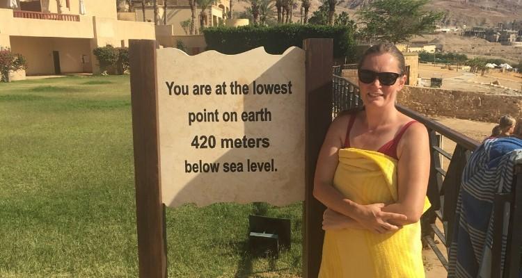 Lowest Point on earth sign Dead Sea Jordan Movenpick Resort