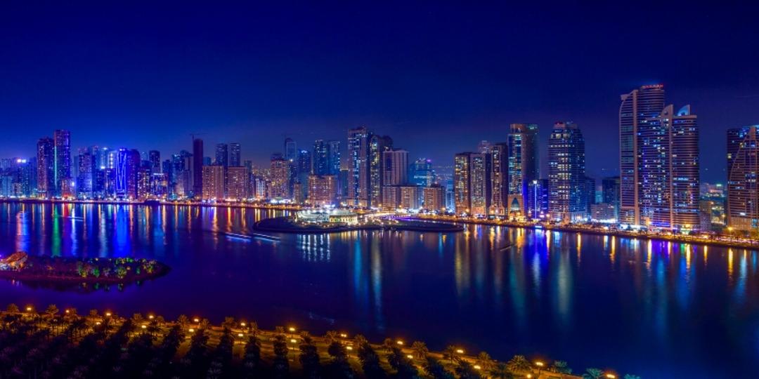 Sharjah skyline at night