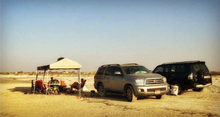 Desert Camping set up along the beach UAE