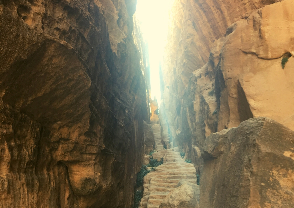 The narrow staircase at the end of Siq al-Barid, Little Petra