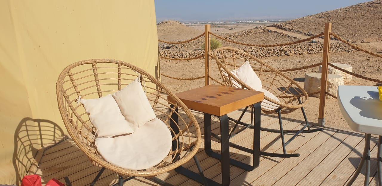 Jebel Hafit Desert park seating outside dome tent