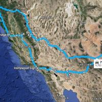 Road Trip Map from Oklahoma to California