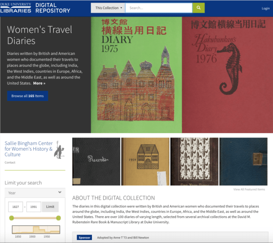 Digitized collection of women's travel diaries at Duke University.