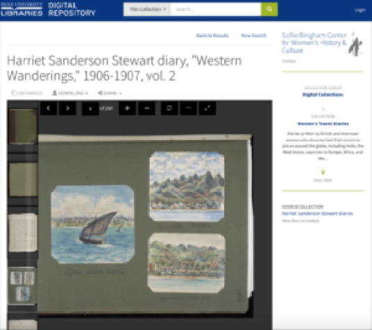 Watercolors found in one of the many digitized women's travel diaries from Duke University.